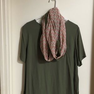 CC Olive / Coral Chevron Infinity Scarf